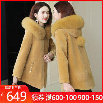 leather and fur Summer of 2019 Xuesnorol / snow cashmere New yellow light camel pink Beige bright feather blue red S M L XL 2XL Medium length Long sleeves commute Hood routine zipper other Simplicity XU1991-YJR1910 Other 100%