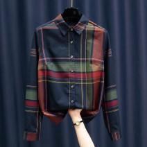 shirt Navy, Khaki M,L,XL,2XL,3XL Spring 2021 other 30% and below Long sleeves Versatile Regular Polo collar Single row multi button routine lattice Button