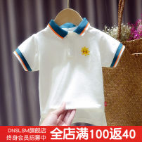 T-shirt white DNSLSM 80cm 90cm 100cm 110cm 120cm 130cm male summer Short sleeve Lapel and pointed collar Korean version No model nothing cotton Solid color Cotton 95% polyurethane elastic fiber (spandex) 5% 30-33 Sweat absorption Summer 2020 Chinese Mainland Zhejiang Province Huzhou City
