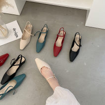 Sandals 35, 36, 37, 38, 39, standard size, according to the usual size Apricot, blue, red, black PU Other / other Square head Thick heel Middle heel (3-5cm) Summer 2021 Trochanter Korean version Solid color Adhesive shoes Youth (18-40 years old) rubber daily Rear trip strap Low Gang Microfiber skin