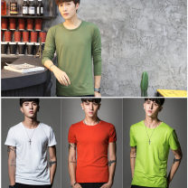 T-shirt Business gentleman thin S,M,L,XL,2XL,3XL,4XL,5XL Niu Chenshi Long sleeves Crew neck standard go to work autumn Polyester 96% polyurethane elastic fiber (spandex) 4% middle age routine Simplicity in Europe and America Sweat cloth 2016 Solid color No iron treatment Domestic non famous brands