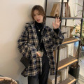 Women's large Winter 2020 Picture color S (75-95 kg), m (95-105 kg), l (105-120 kg), XL (120-140 kg), 2XL (140-160 kg), 3XL (160-180 kg), 4XL (180-200 kg) shirt singleton  commute easy thickening Cardigan Long sleeves lattice Korean version Polo collar Medium length other Three dimensional cutting