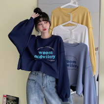 Women's large Autumn 2020 White, yellow, dark blue, light blue S (75-95 kg), m (95-105 kg), l (105-120 kg), XL (120-140 kg), 2XL (140-160 kg), 3XL (160-180 kg), 4XL (180-200 kg) Sweater / sweater singleton  commute easy moderate Socket Long sleeves letter Korean version Crew neck other routine