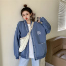 Women's large Spring 2021 Black, gray, blue S (75-95 kg), m (95-105 kg), l (105-120 kg), XL (120-140 kg), 2XL (140-160 kg), 3XL (160-180 kg), 4XL (180-200 kg) Jacket / jacket singleton  commute easy moderate Cardigan Long sleeves letter Korean version V-neck Medium length other routine Button