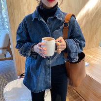 Women's large Spring 2020 blue shirt singleton  commute easy moderate Cardigan Long sleeves Solid color Korean version Polo collar routine Denim Three dimensional cutting 18-24 years old