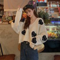 Women's large Autumn 2020 white S (75-95 kg), m (95-105 kg), l (105-120 kg), XL (120-140 kg), 2XL (140-160 kg), 3XL (160-180 kg), 4XL (180-200 kg) sweater singleton  commute easy moderate Socket Long sleeves Korean version V-neck have cash less than that is registered in the accounts other Bat sleeve