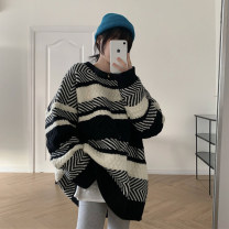 Women's large Winter 2020 stripe S (75-95 kg), m (95-105 kg), l (105-120 kg), XL (120-140 kg), 2XL (140-160 kg), 3XL (160-180 kg), 4XL (180-200 kg) sweater singleton  commute easy thickening Socket Long sleeves stripe Korean version Crew neck Medium length other routine 18-24 years old