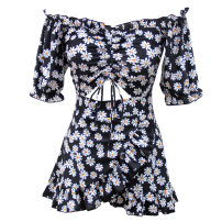 one piece  Yiyayou swimsuit M,L,XL Chrysanthemum Siamese Skirt one piece With chest pad without steel support Nylon, spandex, polyester, others female Short sleeve Casual swimsuit Hollowing out