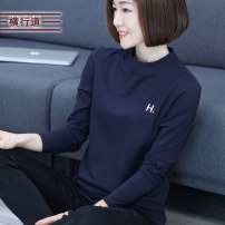 T-shirt M L XL 2XL 3XL 4XL Spring 2021 Long sleeves Half high collar easy Regular routine commute cotton 31% (inclusive) - 50% (inclusive) 30-39 years old Simplicity literature Letter solid color Crosswalk T1227 Embroidery Modal fiber (modal) 47.5% cotton 47.5% polyurethane elastic fiber (spandex) 5%