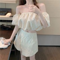 Fashion suit Summer 2020 S, M Champagne embossed jacquard one shoulder jacket, champagne irregular trouser skirt