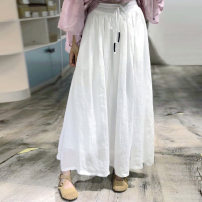 skirt Summer of 2019 Average size white Mid length dress Sweet High waist Fairy Dress Solid color Type A A217 91% (inclusive) - 95% (inclusive) hemp Bandage, open line decoration solar system