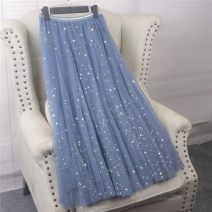 skirt Spring of 2019 Average size Gray, black, apricot, pink, blue bright star, black bright star, apricot bright star, pink bright star Mid length dress Versatile High waist Fluffy skirt Solid color Type A 623# 31% (inclusive) - 50% (inclusive) other Other / other