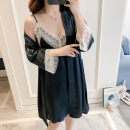 Pajamas / housewear set female Other / other Average size Iced silk Long sleeves sexy Leisure home summer routine V-neck Solid color double-breasted youth 2 pieces More than 95% silk