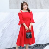 Women's large Summer of 2019 Black red Large XL Large 2XL large 3XL large 4XL Dress singleton  commute easy thin Socket elbow sleeve Solid color Korean version One word collar polyester Three dimensional cutting Lotus leaf sleeve NZ19-A012 Nuozhu 25-29 years old Button 96% and above longuette