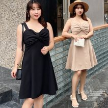 Dress Summer 2020 Milk tea apricot black XL 2XL 3XL 4XL Short skirt singleton  Sleeveless commute V-neck High waist Solid color Socket A-line skirt camisole 25-29 years old Type A Nuozhu Korean version backless More than 95% polyester fiber Polyester 100% Pure e-commerce (online only)