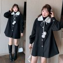 woolen coat Winter 2020 XL 2XL 3XL 4XL black polyester 51% (inclusive) - 70% (inclusive) Medium length Long sleeves Sweet Single breasted routine Doll Collar Solid color Straight cylinder NZ20-K1201 Nuozhu 25-29 years old Patch pocket stitching thread stereo decorative asymmetric button 3D princess