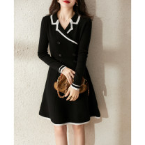 Dress Spring 2021 Black S,M,L,XL Middle-skirt singleton  Long sleeves commute tailored collar High waist other Socket A-line skirt other Others Xhange / Xiaohan Pavilion Ol style Button, button ZQ259144AG More than 95% wool