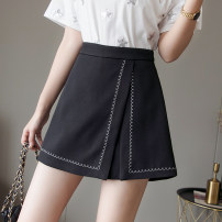 Casual pants Black and white S M L XL 2XL Summer 2021 shorts Wide leg pants High waist commute routine 25-29 years old Rose with thorns - two thousand seven hundred and nineteen Yalai Poetry polyester fiber Korean version zipper polyester fiber Polyester 100% Pure e-commerce (online only) Asymmetry