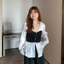 Women's large Autumn 2020 Milky white, milky white pre-sale Large XL, large XXL, large XXL, large L shirt singleton  commute Self cultivation thin Socket Long sleeves court V-neck routine polyester routine belt 96% and above bow