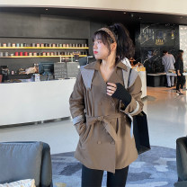 Women's large Spring 2021 Black heavy industry Large XL, large XXL, large XXL, large L Windbreaker commute Straight cylinder thick Cardigan Long sleeves Solid color Ol style Medium length Polyester, cotton routine 18-24 years old Button 96% and above