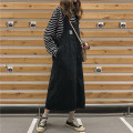 Dress Spring 2020 black Average size singleton  Sleeveless commute Loose waist straps 18-24 years old Type H Other / other Korean version straps 31% (inclusive) - 50% (inclusive) Denim cotton