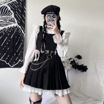 Dress Spring 2021 Shirt, skirt, strap skirt with belt S,M,L Short skirt Three piece set Long sleeves commute other High waist other Single breasted Pleated skirt other straps 18-24 years old Sophie's Chaoren Museum Korean version 51% (inclusive) - 70% (inclusive) polyester fiber