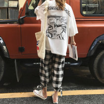 Fashion suit Summer of 2018 Average size White T brick red t check pants 18-25 years old Other / other nine thousand two hundred and thirty-six 96% and above cotton