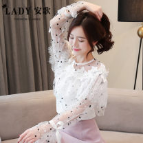 Lace / Chiffon Spring of 2019 white S,M,L,XL,2XL Long sleeves commute Socket singleton  easy Regular Crew neck Solid color Lotus leaf sleeve 25-29 years old Other / other YWL520129613 Flounce, cut out, hook flower, cut out, splice, tie flower, button, net, lace Korean version