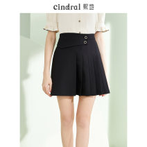 skirt Summer 2021 S M L XL Black (15 days in advance) Short skirt commute High waist A-line skirt Solid color Type A 25-29 years old XH10397 More than 95% Xi di polyester fiber Button pleats Polyethylene terephthalate (polyester) 100% Pure e-commerce (online only)