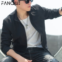Jacket Fanqiu Fashion City 615 black 618 black 2210 black 2210 Khaki M L XL 2XL 3XL 4XL 5XL routine Self cultivation Other leisure autumn QJK9618 Polyester 100% Long sleeves Wear out stand collar tide youth short Zipper placket Rubber band hem washing Closing sleeve Solid color Autumn of 2019