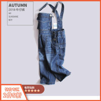 trousers Warren land / Cheng paradise neutral blue spring and autumn trousers leisure time There are models in the real shooting Jeans Leather belt High waist cotton Don't open the crotch Cotton 100%