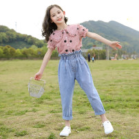 suit Youmi house 120cm 130cm 140cm 150cm 160cm 170cm female summer leisure time Short sleeve + pants 2 pieces routine There are models in the real shooting Single breasted nothing Dot children Expression of love Other 100% Summer 2020 Five, six, seven, eight, nine, ten, eleven, twelve