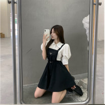 Women's large Spring 2021, summer 2021 White shirt, black suspender skirt, pink suspender skirt It is suggested that the size of the recommended size is 120-40kg, and it is recommended to use the size of 120-40kg Other oversize styles Two piece set commute easy moderate Short sleeve 18-24 years old