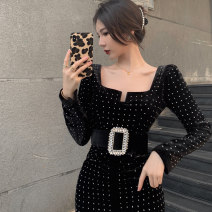 Women's large Winter 2020, autumn 2020 Dress, belt M [recommended 90-100 kg], l [100-120 Jin], XL [120-140 Jin], 2XL [140-160 Jin], 3XL [160-180 Jin], 4XL [180-200 Jin recommended] Dress Two piece set commute Self cultivation moderate Conjoined Long sleeves 18-24 years old Medium length