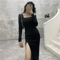 Women's large Autumn 2020 Black dress Big L, big XL, big M, big 2XL, big 3XL, big 4XL Dress singleton  commute Self cultivation moderate Socket Long sleeves Solid color Polyester, cotton 18-24 years old Medium length