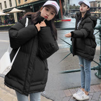 Cotton padded clothes Black, blue, green, fog blue, fresh green S,M,L,XL,2XL Winter 2020 Beautiful dress Medium length Long sleeves thickening zipper commute routine Self cultivation Solid color Korean version QJPY1846 Cellulose acetate Cotton 96% and above 25-29 years old