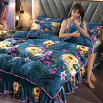 Bedding Set / four piece set / multi piece set Polyester (polyester fiber) Quilting Plants and flowers 133x72 Polyester (polyester fiber) 4 pieces 60 Bed sheet, bed skirt Qualified products Simplicity Sanding Reactive Print  Thermal storage Coral velvet