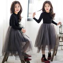 Dress Grey mesh skirt (without velvet), grey mesh skirt (with velvet and thickening) female Give me a hug 110cm,120cm,130cm,140cm,150cm,160cm,165cm Cotton 95% polyurethane elastic fiber (spandex) 5% winter Korean version Long sleeves Solid color cotton Fluffy skirt Class B