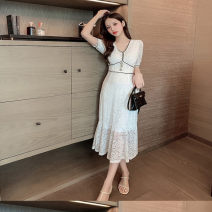 Dress Summer 2021 Off white, white S,M,L,XL Mid length dress singleton  Short sleeve commute V-neck High waist Solid color zipper Pleated skirt routine 25-29 years old More than 95% Lace other