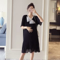 Dress Bing moon Black blue blue green pink M L XL XXL Korean version Short sleeve have more cash than can be accounted for summer Crew neck Solid color Chiffon WS004504