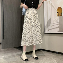 skirt Spring 2021 Average size White, black Mid length dress commute High waist A-line skirt Broken flowers Type A 18-24 years old 0401L 30% and below other Other / other Korean version