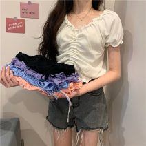 Wool knitwear Summer 2021 Average size White, purple, blue, black, pink Short sleeve singleton  Socket other 51% (inclusive) - 70% (inclusive) have cash less than that is registered in the accounts routine commute easy One word collar routine Solid color Socket Korean version W0412 18-24 years old