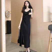Dress Spring 2021 black Average size Mid length dress singleton  Sleeveless commute Crew neck Loose waist Solid color Socket A-line skirt other camisole 18-24 years old Type A Other / other Korean version 71% (inclusive) - 80% (inclusive) polyester fiber