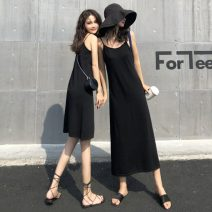 Dress Spring 2021 4671 short black, 4671 short apricot, 4672 long black, 4672 long apricot Average size Mid length dress singleton  Sleeveless commute V-neck High waist Solid color Socket A-line skirt camisole 18-24 years old Type A Other / other Korean version W0126 31% (inclusive) - 50% (inclusive)