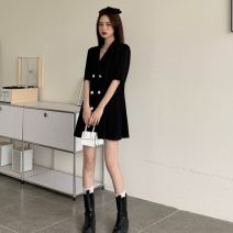 Dress Summer 2021 Light blue, white, pink, black S, M Short skirt singleton  Short sleeve commute tailored collar High waist Solid color double-breasted A-line skirt routine 18-24 years old Type A Other / other Korean version Button 0408Y 31% (inclusive) - 50% (inclusive)