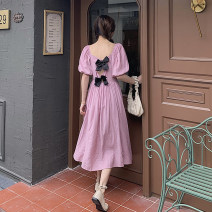 Dress Spring 2021 Light yellow, pink Average size Mid length dress singleton  Short sleeve commute square neck High waist Socket A-line skirt puff sleeve 18-24 years old Type A Other / other Korean version 0331Y 31% (inclusive) - 50% (inclusive)