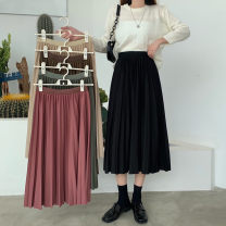 skirt Autumn 2020 Average size Coffee, dark green, apricot, rose, black Mid length dress Versatile High waist Pleated skirt Solid color Type A 18-24 years old H0821 30% and below other Other / other fold
