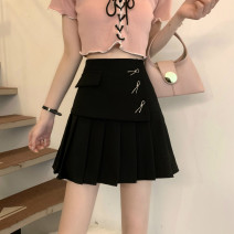 skirt Summer 2021 S,M,L White, black Short skirt commute High waist A-line skirt Type A 18-24 years old 0406L 30% and below other Other / other Korean version