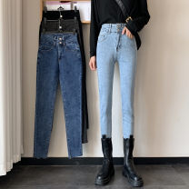 Jeans Autumn 2020 S,M,L trousers High waist Pencil pants routine 18-24 years old Button Dark color Other / other