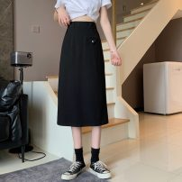 skirt Spring 2021 M, L Gray, black Mid length dress commute High waist A-line skirt Solid color Type H 18-24 years old 0401Y 30% and below Other / other Korean version